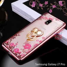 Heart Ring Stand Case with Auora Flower Crystals for Galaxy J7 Pro Back Cover Rose Gold